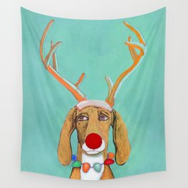 George the Holiday Hound Wall Tapestry