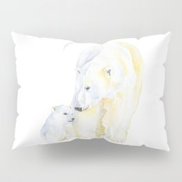 Mother and Baby Polar Bears Watercolor Pillow Sham