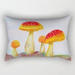 Mountain Mushrooms: Watercolor Painting Rectangular Pillow
