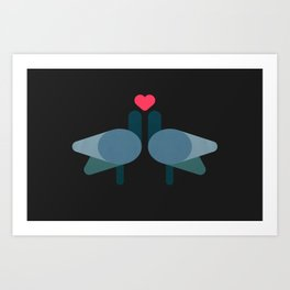Pigeon love Art Print