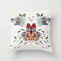 princess mononoke Throw Pillows featuring mononoke princess by Manoou
