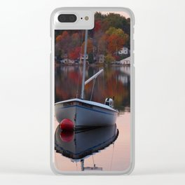 Sail Boat In Fall Clear iPhone Case