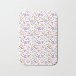 Magnolia and Iris Embroidery Style Bath Mat