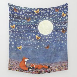 moonlit foxes Wall Tapestry