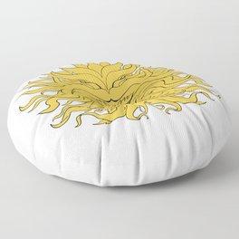 Helios Greek God of Sun Head Drawing Color Floor Pillow