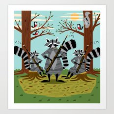 Raccoons Playing Bassoons Art Print
