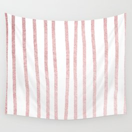 Simply Drawn Vertical Stripes in Rose Gold Sunset Wall Tapestry