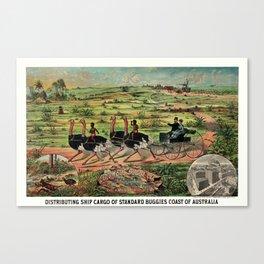 Distributing ship cargo of buggies Ohio to Australia Canvas Print