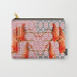 Decorative Grey-Rink Art Deco Flamingo Reflecting Art  Carry-All Pouch
