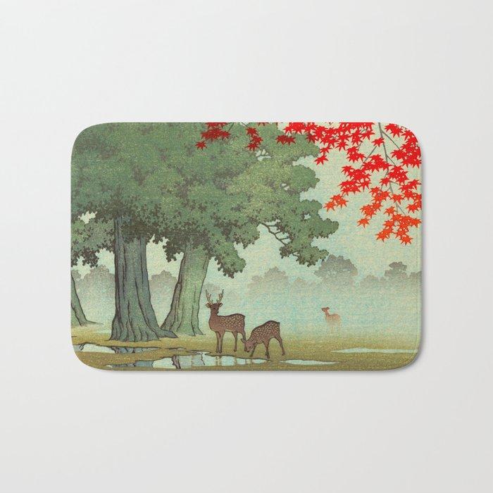 Vintage Japanese Woodblock Print Nara Park Deers Green Trees Red Japanese Maple Tree Bath Mat
