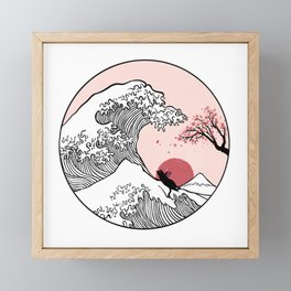 Sakura Tree spring fall Great Wave Framed Mini Art Print
