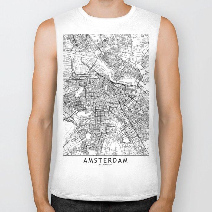 Amsterdam White Map Biker Tank