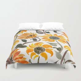 Sunflower Watercolor – Yellow & Black Palette Duvet Cover