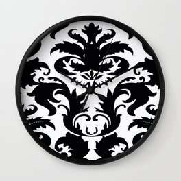 Black and White Victorian Damask #2 Wall Clock