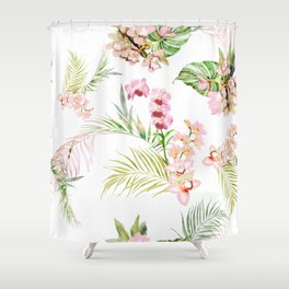 Pink Orchid, Hostas + Palms Pattern Shower Curtain