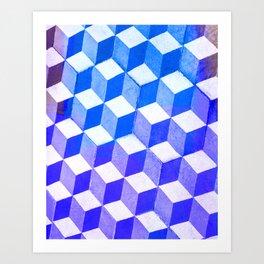 Blue Antic Tile Pattern Art Print