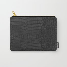 Black Crocodile Leather Print Carry-All Pouch