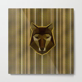 Aboriginal Gold  Dot art  Wolf Metal Print