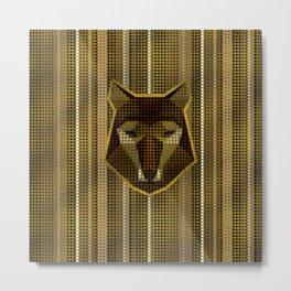 Aboriginal Gold  Dot art  Wolf Metal Print