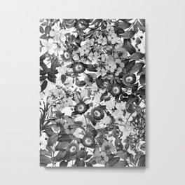 Night Garden Black and White Metal Print