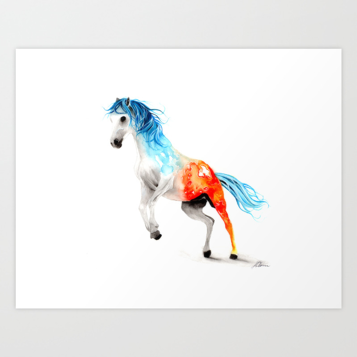 Fire And Ice Watercolour Horse Painting Art Print By Kieran13 Society6