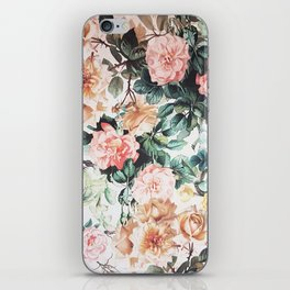 Vintage green pink yellow watercolor roses floral iPhone Skin