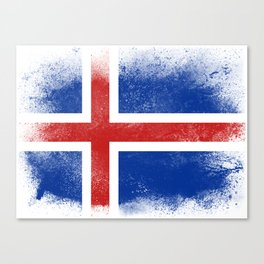 Iceland flag isolated Canvas Print