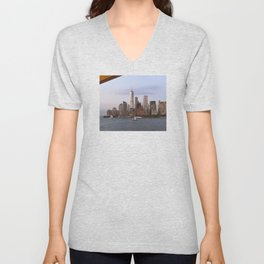 New York City Financial District as Seen From the Staten Island Ferry Unisex V-Neck