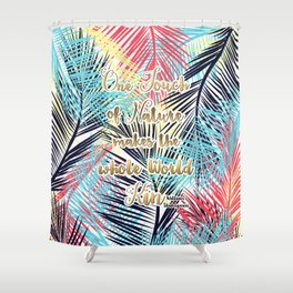 Tropical leaves Nature gold quote design Shower Curtain