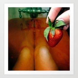 Strawberry bath Art Print