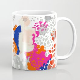 Mica - Abstract painting in modern fresh colors navy, orange, pink, cream, white, and gold Coffee Mug