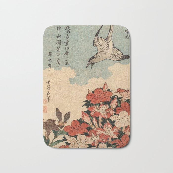 Hokusai Cuckoo and azaleas -hokusai,manga,japan,Katsushika,cuckoo,azaleas,Rhododendron Bath Mat