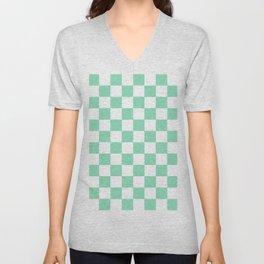 Checkered (Mint & White Pattern) Unisex V-Neck