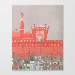 Purani Dilli, Old Delhi - A Postcard from India Canvas Print