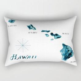 Islands: Hawaii Watercolor Map Rectangular Pillow