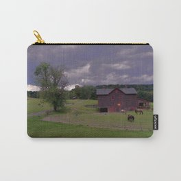 Horses, Barn and Storm Clouds Carry-All Pouch