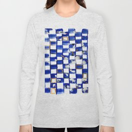 Blue and White Checks Long Sleeve T-shirt