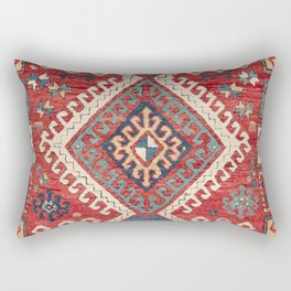 White Hooked Diamond // 19th Century Authentic Simple Colorful Aztec Accent Pattern Rectangular Pillow