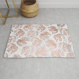 Boho rose gold floral paisley mandala elephants illustration white marble pattern Rug