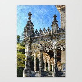 Gothic tracery at Bucaco, central Portugal Canvas Print