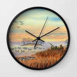 Goose Hunting Season Colorful Painting Wall Clock