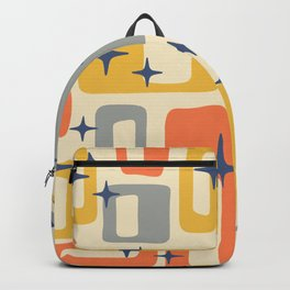 Retro Mid Century Modern Abstract Pattern 278 Yellow Orange Gray Backpack