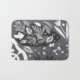 Hedgehog in Autumn Woods - Gray Palette Bath Mat