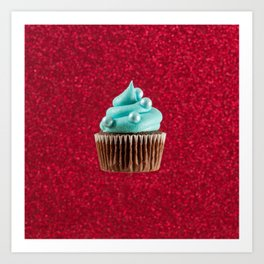 Cupcake Love | Aqua Swirl on Red Sparkle Art Print