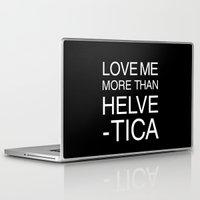 helvetica Laptop & iPad Skins featuring Love Helvetica by Lara Murasaki