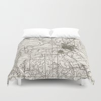 dallas Duvet Covers featuring Dallas Map by Zeke Tucker