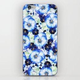 Beautiful hand painted blue purple watercolor pansies floral iPhone Skin
