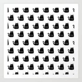 Meow time black cat pattern Art Print