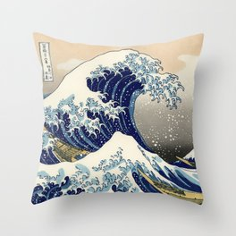 Katsushika Hokusai, The Great Wave off Kanagawa, 1831 Throw Pillow