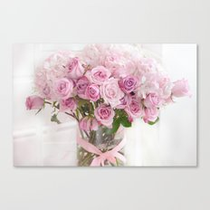 Pastel Pink Bouquet of Roses  Canvas Print